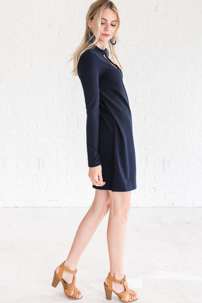 Navy Blue Short Dresses with Cutout Detailing for Women