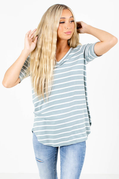 Green and White Striped Patterned Boutique Tops for Women