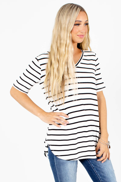 White and Black Striped Boutique Tops for Women