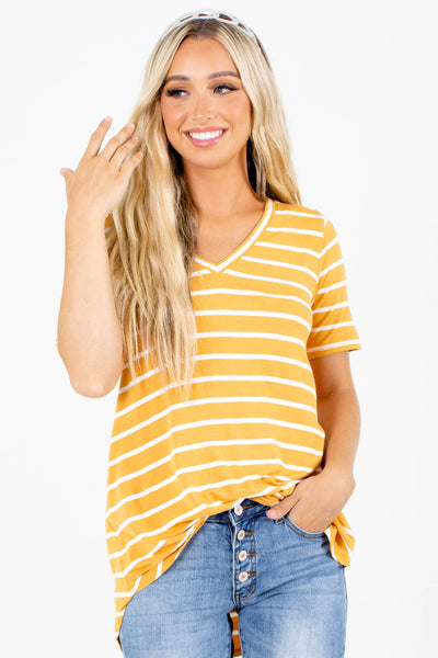 Yellow High-Low Hem Boutique Tops for Women