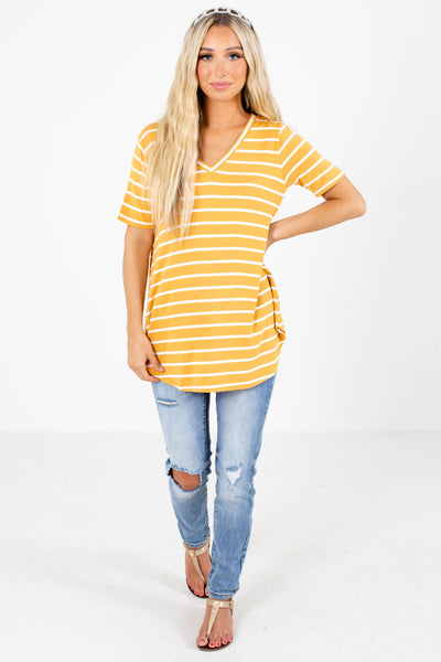 Women's Yellow Short Sleeve Boutique Top