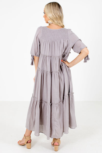Women's Gray Tassel Tie Boutique Maxi Dress