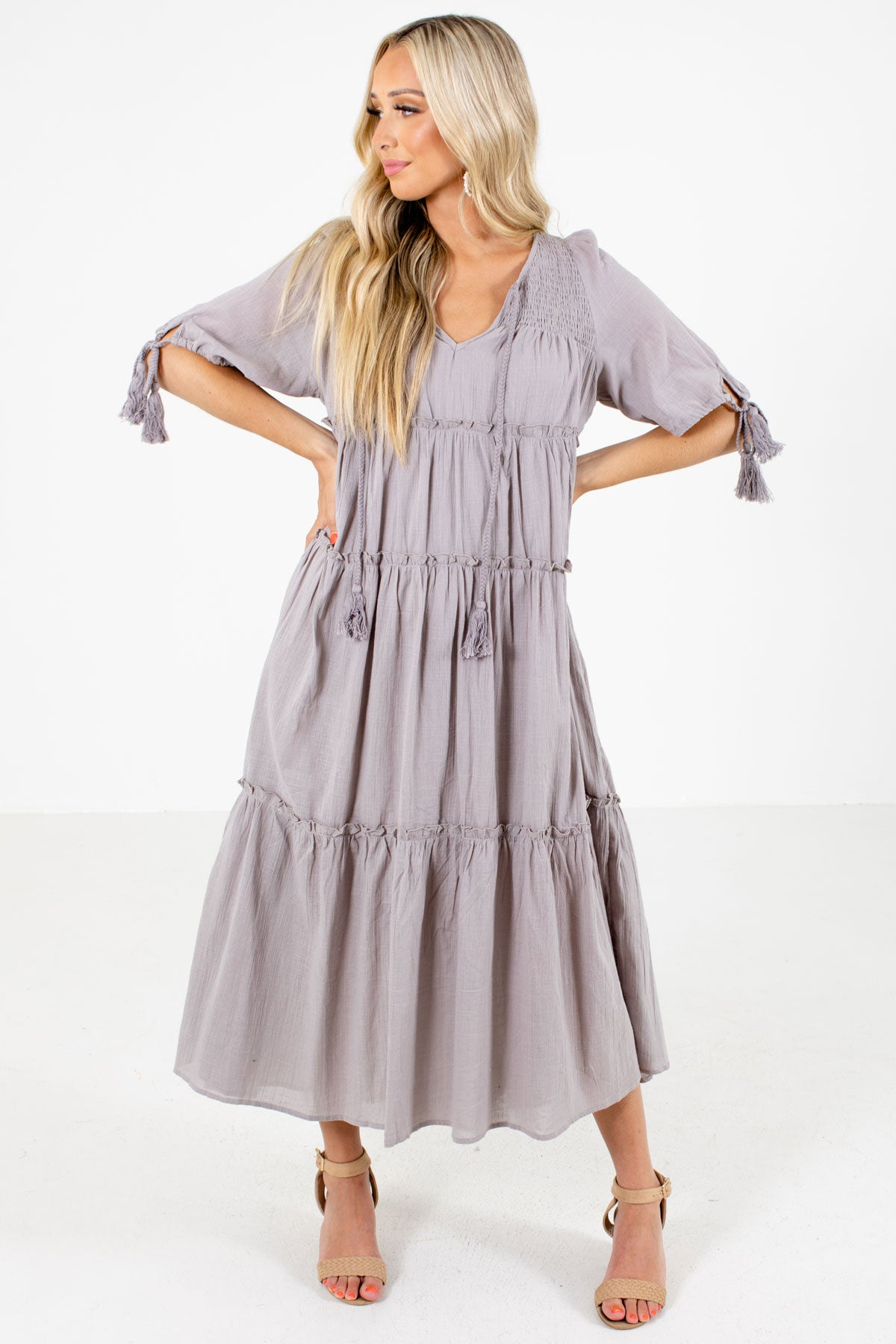 Gray Smocked Accented Boutique Maxi Dresses for Women