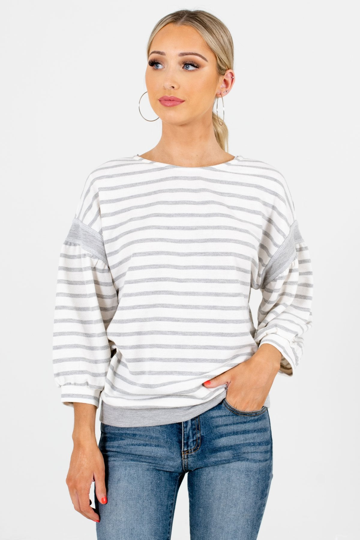 White and Gray Striped Pattern Boutique Tops for Women