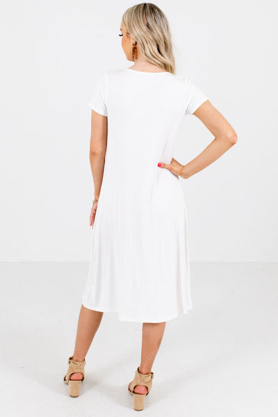 Women's White High-Quality Ribbed Material Boutique Midi Dress