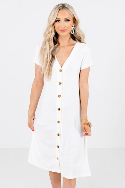 Women's White Flowy Silhouette Boutique Midi Dress