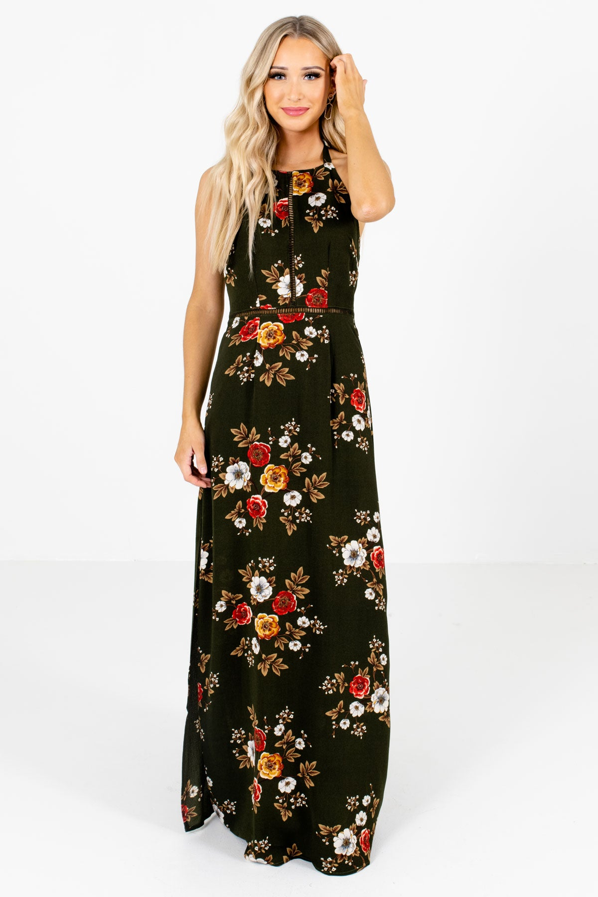 Dark Olive Green Multicolored Floral Patterned Boutique Maxi Dresses for Women
