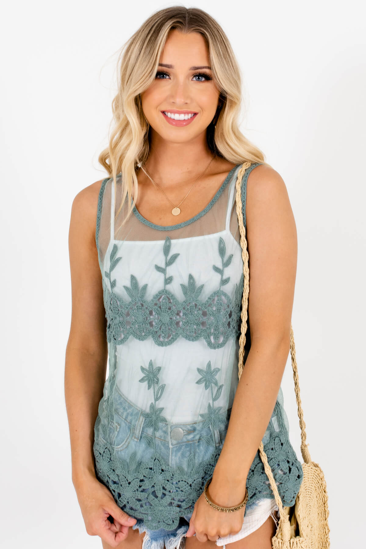 Green Semi-Sheer Lace Material Boutique Tank Tops for Women