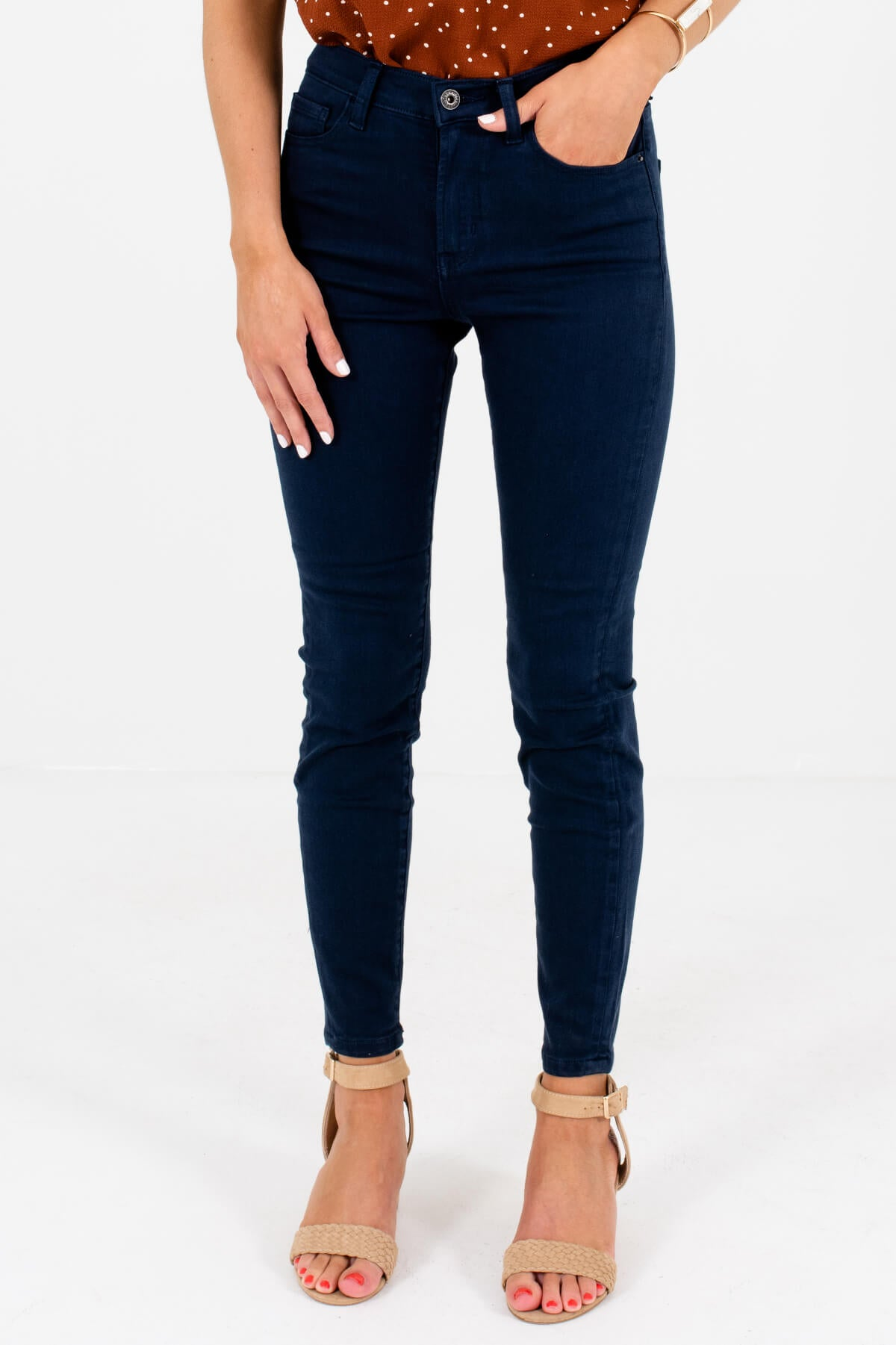 Navy Blue Skinny Fit Boutique Jeans for Women