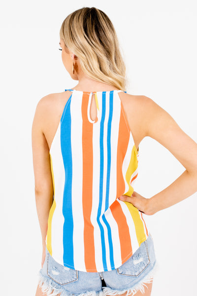 White Blue Orange Green Multi Striped Front Knot Tank Tops for Women
