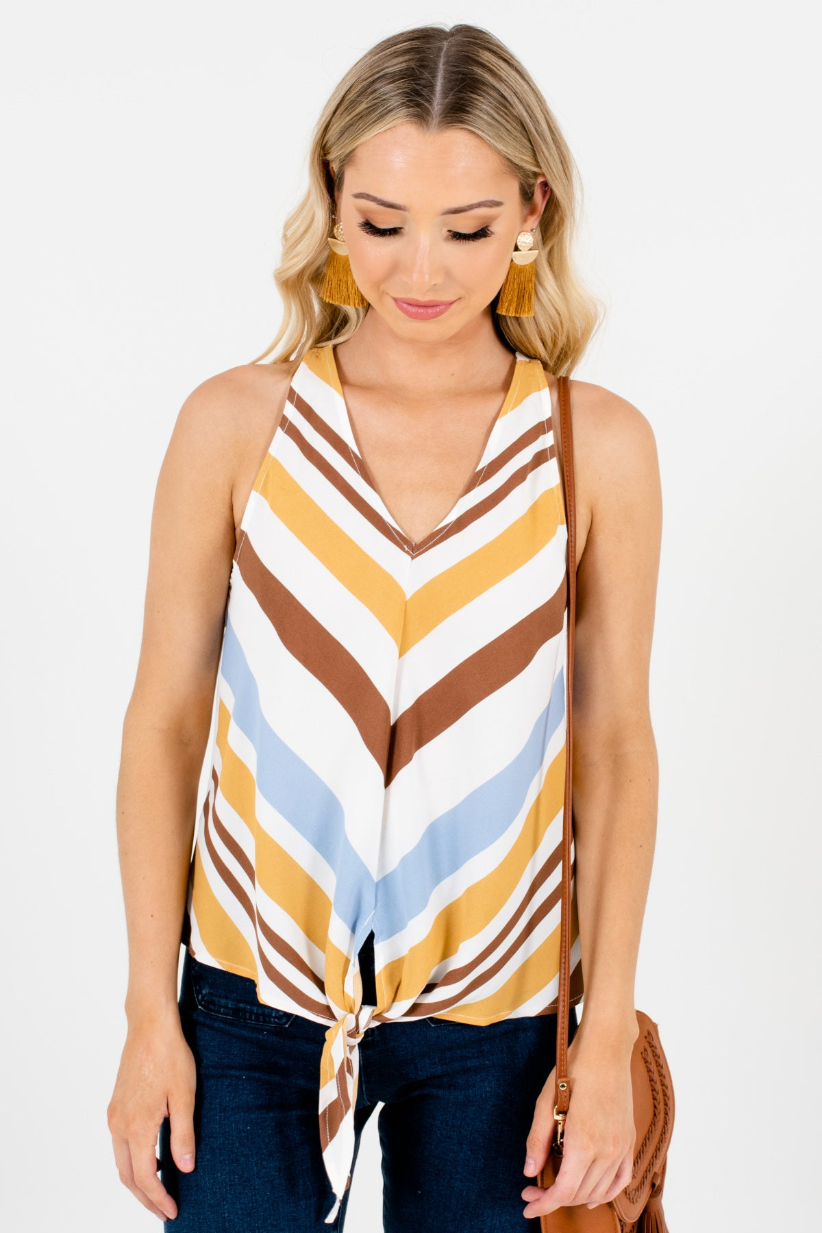 White Brown Blue Striped Multi Front Knot Tank Tops for Women