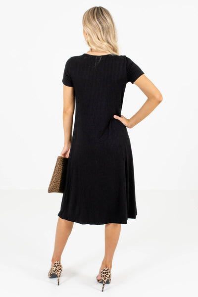Women's Black Button-Up Front Boutique Midi Dress