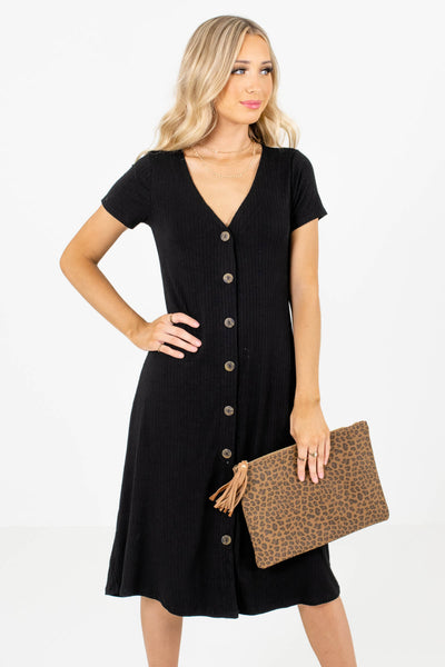 Black High-Quality Ribbed Material Boutique Midi Dresses for Women