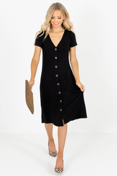 Black Cute and Comfortable Boutique Midi Dresses for Women