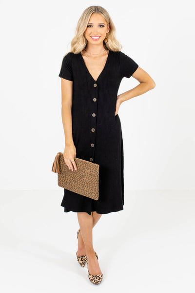 Women's Black Layering Boutique Midi Dress