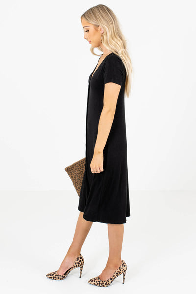 Black V-Neckline Boutique Midi Dresses for Women