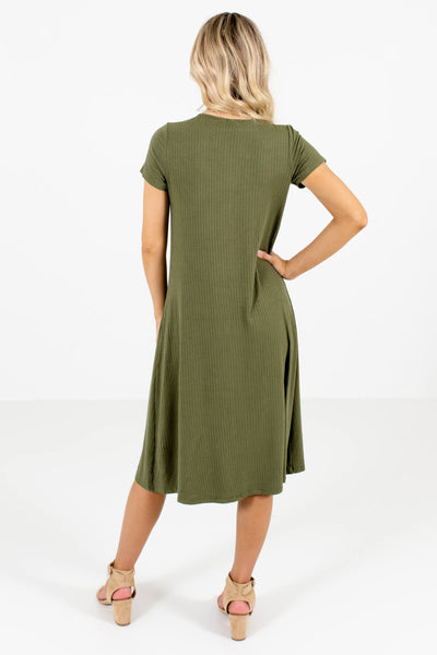 Women's Olive Green Button-Up Front Boutique Midi Dress