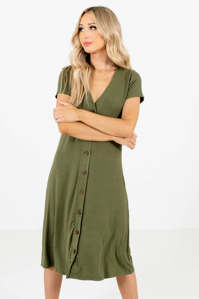 Women's Olive Green Business Casual Boutique Clothing
