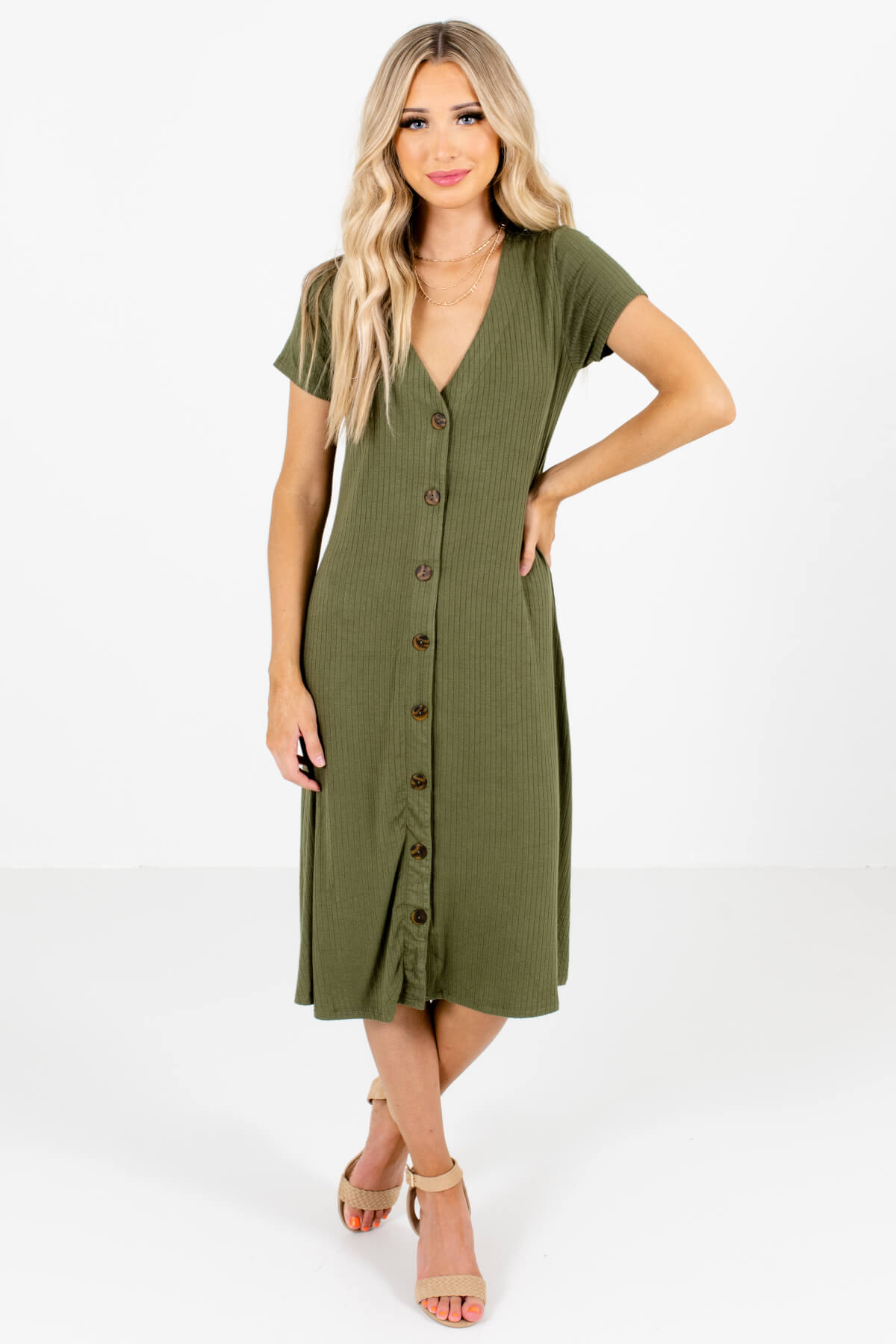 Olive Green High-Quality Ribbed Material Boutique Midi Dresses for Women