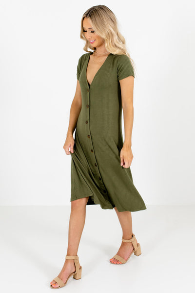 Olive Green Cute and Comfortable Boutique Midi Dresses for Women