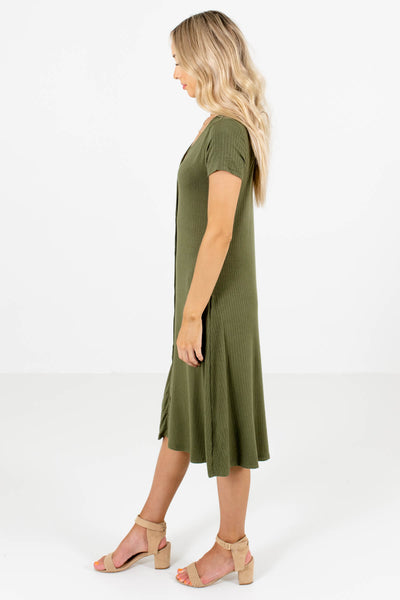 Olive Green V-Neckline Boutique Midi Dresses for Women