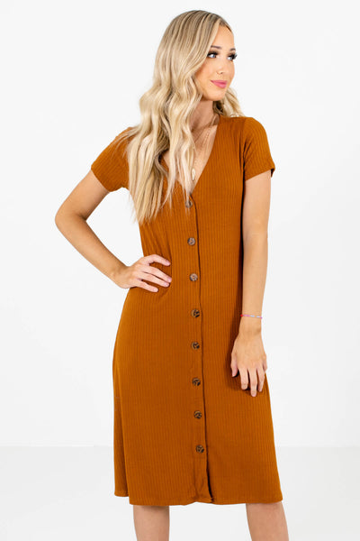 Rust Orange High-Quality Ribbed Material Boutique Midi Dresses for Women
