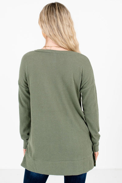 Women's Olive Green Button-Up Sides Boutique Top
