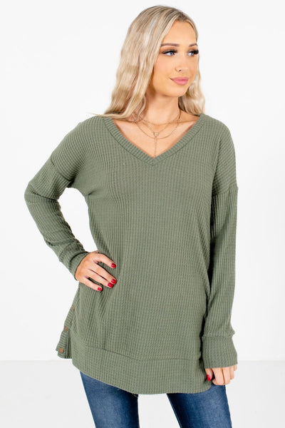 Olive Green High-Quality Waffle Knit Boutique Tops for Women