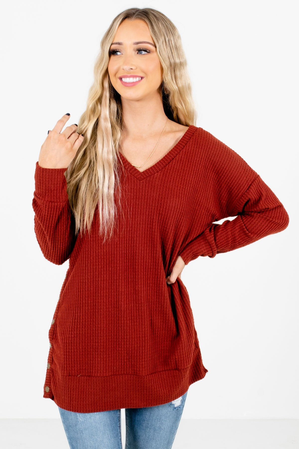 Rust Red High-Quality Waffle Knit Boutique Tops for Women