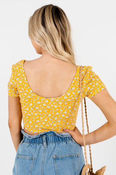 Women's Yellow Floral Cropped Length Boutique Tops