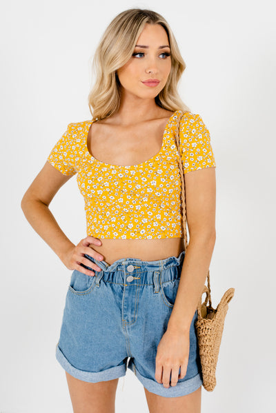 Yellow Floral Cute and Comfortable Boutique Crop Tops for Women