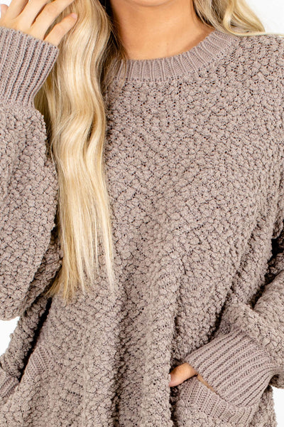 Women's Brown Boutique Sweater with Pockets