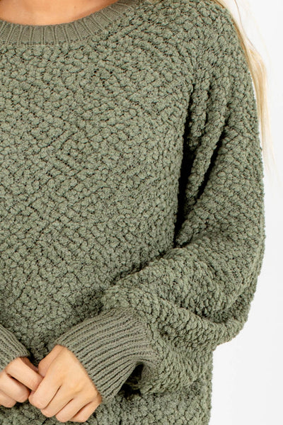 Women's Green Stretchy Boutique Sweaters