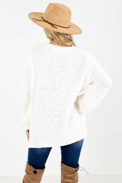 Women's White Stretchy Boutique Sweater