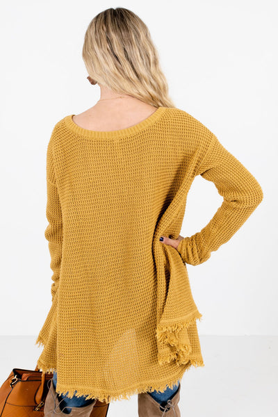 Women's Mustard Oversized Relaxed Fit Boutique Sweater