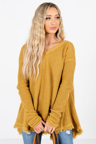 Women's Mustard Frayed Hem Boutique Sweater