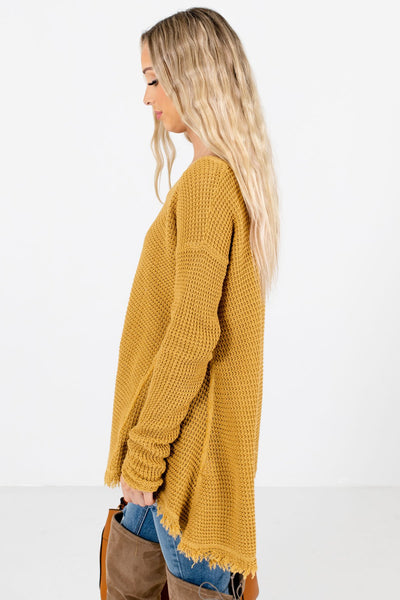 Mustard V-Neckline Boutique Sweaters for Women