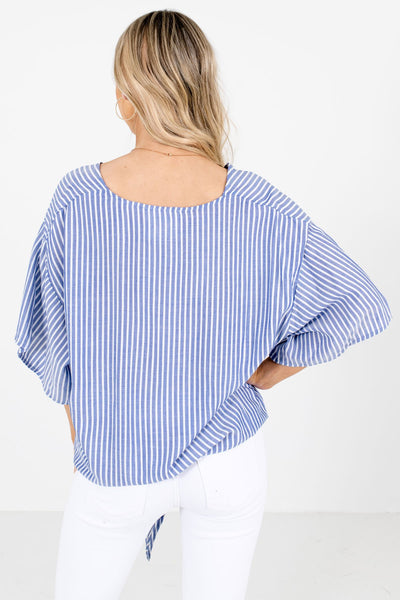 Women's Blue Tie Front Detail Boutique Tops