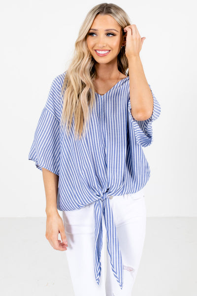 Blue and White Stripe Patterned Boutique Tops for Women