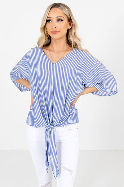 Women's Blue Lightweight Material Boutique Tops