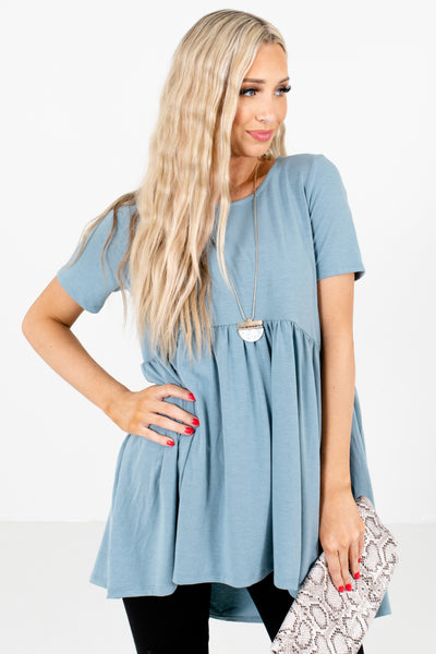Women's Blue Peplum Hem Boutique Top