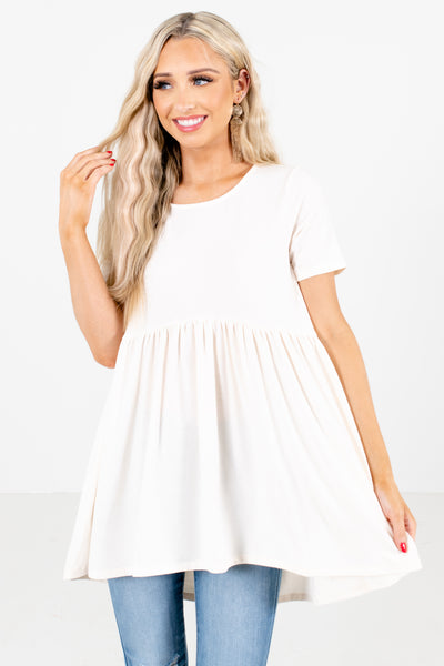 White Flowy Silhouette Boutique Tops for Women