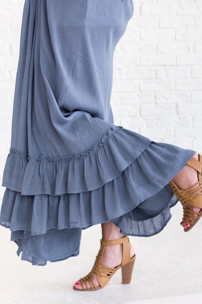 Slate Blue Ruffled Maxi Dresses for Women