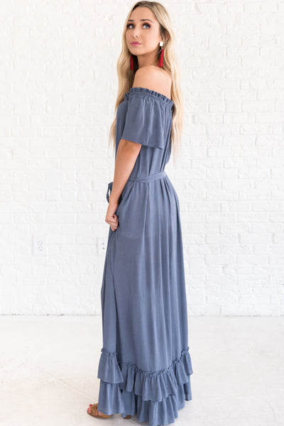 Slate Blue Women's Off Shoulder Style Dress