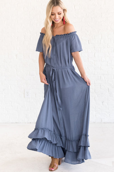 Slate Blue Fall Bridesmaid Dresses for Women