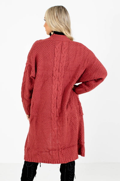 Women's Red Longer Length Boutique Cardigan