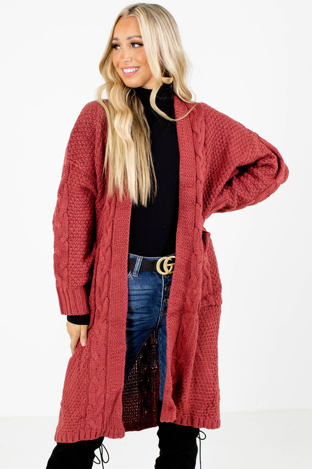 Red Cable Knit Material Boutique Cardigans for Women