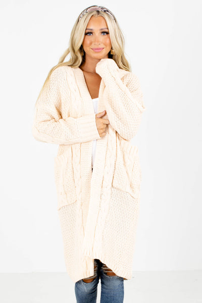 Cream Boutique Cardigan with Pockets for Women