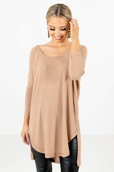 Women's Tan Brown Relaxed Fit Boutique Tops