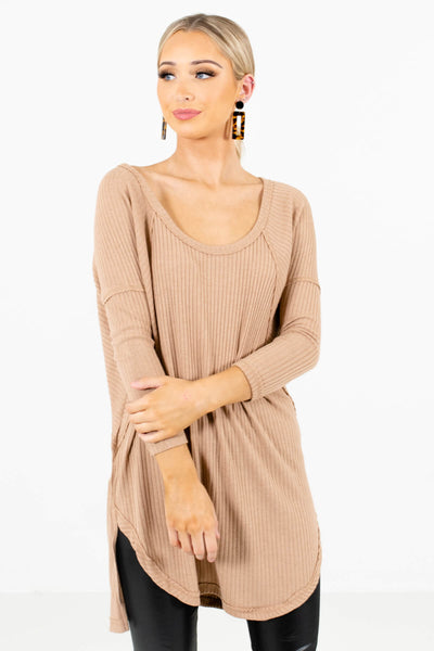 Women's Tan Brown Ribbed Material Boutique Tops